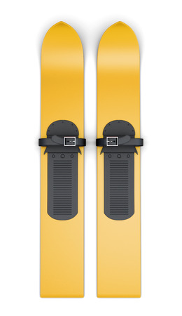 Wide yellow skis isolated on a white background. 3d rendering. Stock Photo