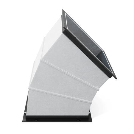 jointed: 45 degree rectangular bend duct  isolated. 3d rendering.