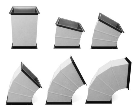 jointed: Set of rectangular components of air duct is isolated. 3d rendering Stock Photo
