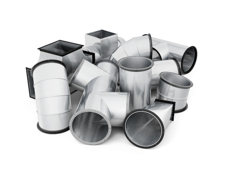 Stainless duct fittings isolated on a white background. 3d rendering.