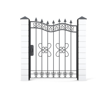 wicket door: Wrought iron gate isolated on white background. 3d rendering.