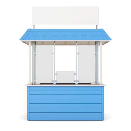 newsstand: Blue kiosk isolated on a white background. 3d rendering.