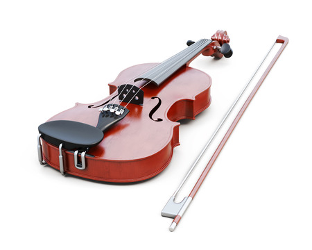 Violin isolated on white background. 3d rendering. Stock Photo
