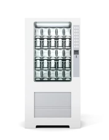 Automaat voor geïsoleerde snacks en soda. Vooraanzicht. 3D-rendering.