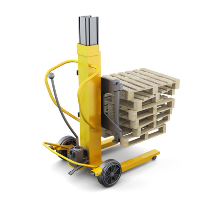 fork lifts trucks: Forklift truck with pallets isolated. 3d rendering.