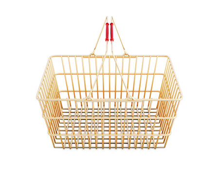 Shopping basket isolated on white background. 3d rendering.