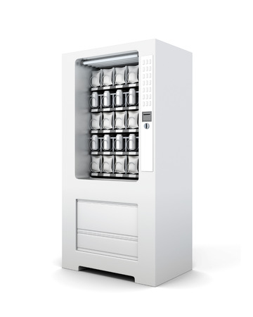 Automaat voor geïsoleerde snacks en soda. 3D-rendering. Stockfoto