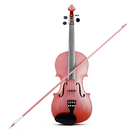 Violin and bow isolated. Front view. 3d rendering. Stock Photo