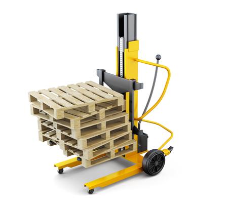 fork lifts trucks: Wooden pallets on the loader. 3d rendering.