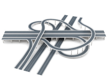 Road junction isolated on white background. 3d rendering. Stock Photo
