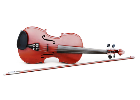 wood carving 3d: Violin and bow isolated on white background. 3d rendering. Stock Photo