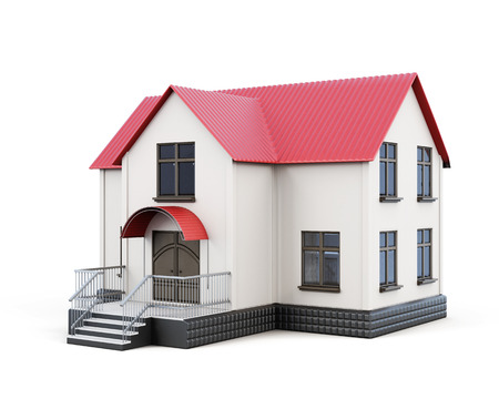 cute house: Small house isolated on white background. 3d rendering.