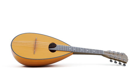 Mandolin musical instrument isolated. 3d rendering. Фото со стока