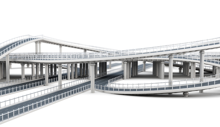 elevated: Overpass highways isolated on white background. 3d rendering.