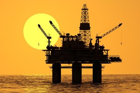 海の石油プラットフォーム。 写真素材