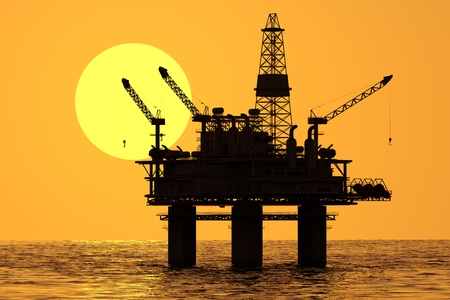 drilling rig: Oil platform on sea.