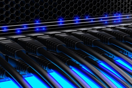 Moderne Netzwerk-Switch mit Kabeln. Standard-Bild - 17456291