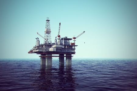 construction platform: Oil platform on sea.