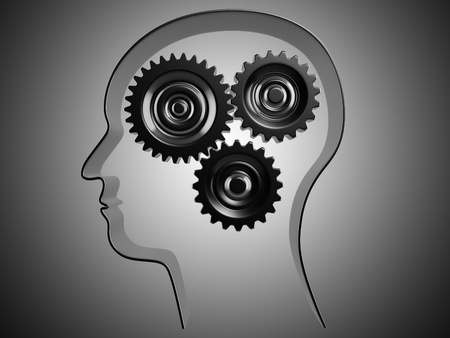 Conceptual picture of working brain represented by cogs working together  photo