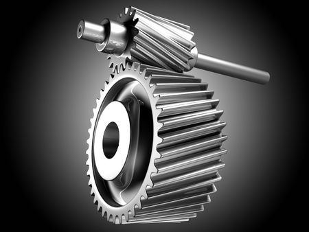 3D image of silver cogs  Imagens