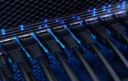 Moderní síťový přepínač s kabely Reklamní fotografie