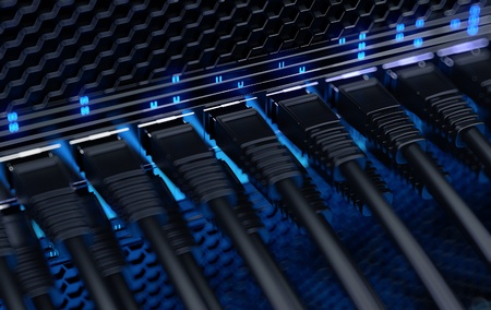 Modern network switch with cables Imagens - 17456294