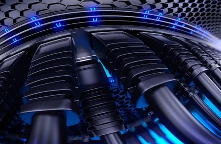 infraestructura: Conmutador de red moderna con cables Foto de archivo