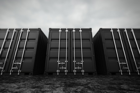 merchandize: Picture of black containers in the row