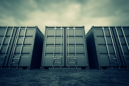 merchandize: Picture of grey containers in the row  Stock Photo