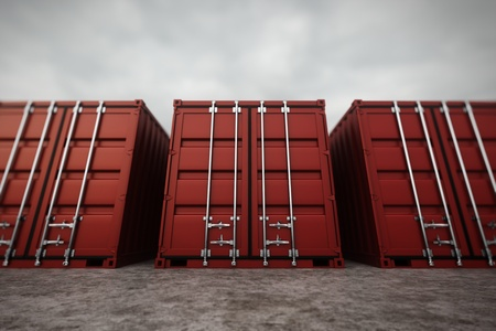 commercial docks: Picture of red containers in the row  Stock Photo