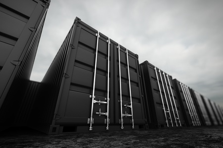 Picture of black containers in the row