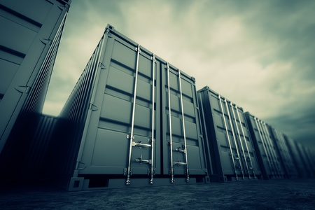 Picture of grey containers in the row  Stock Photo