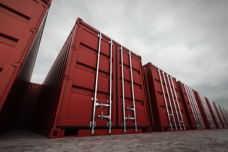 Picture of red containers in the row.