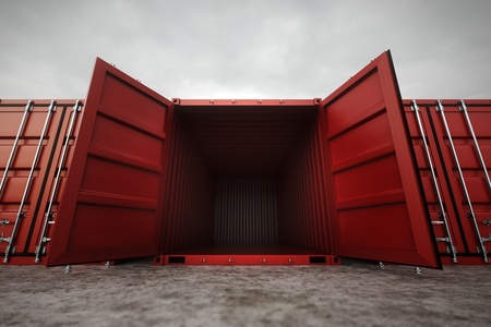 commercial docks: Picture of red open containers in the row