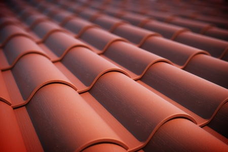 Close up of red roof tiles  photo