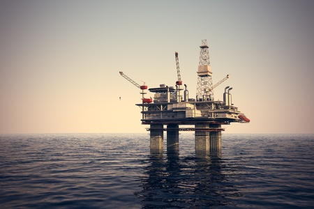 Image of oil platform while cloudless day  photo
