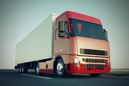 Large delivery truck is moving fast on the road  Stock Photo