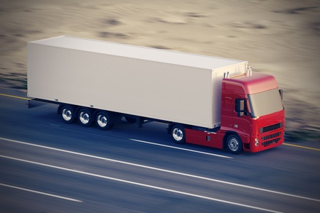 moving truck: Large delivery truck is moving fast on the road  Stock Photo