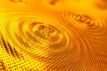 stippled: Abstract background of ripples in shiny gold forming concentric rings around a central droplet with an overall stippled indented surface effect
