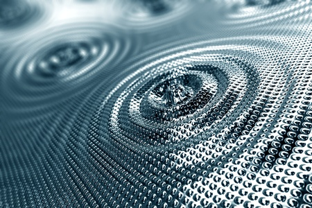 Abstract background of ripples in shiny silver malleable platinum forming concentric rings around a central droplet with an overall stippled indented surface effect