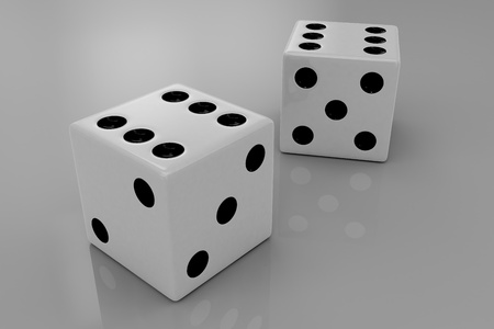 Two white plastic bouncing dices showing number six, closeup Stock Photo - 17576704
