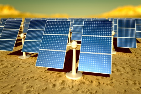 power station: Sunny solar panels in a solar power station under a sky Stock Photo