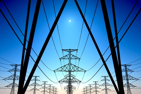power supply: Electricity pylons and lines on a clear blue sky.