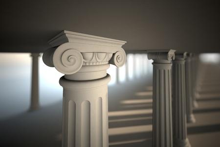 Classical white Greek style columns. photo