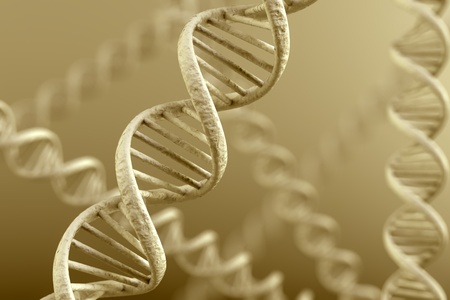 researches: DNA double helix. High resolution 3d rendering. Stock Photo