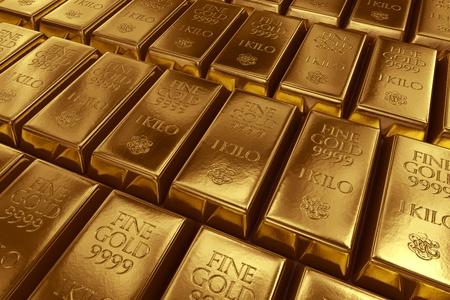 3d rendering of gold bullions  photo