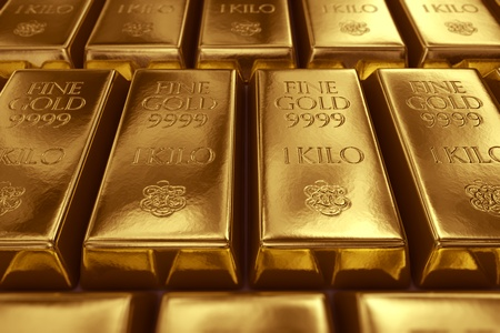 goldbars: 3d rendering of gold bullions