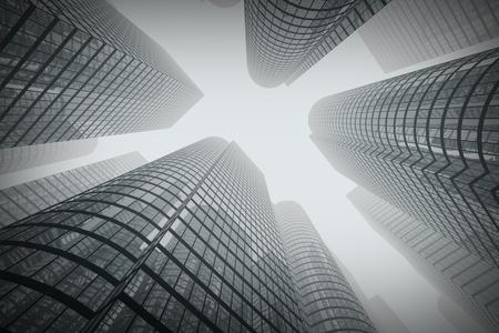 Minimal Winkel der modernen Glas-Gebäude in der Stadt im Nebel erschossen. Standard-Bild - 19611282