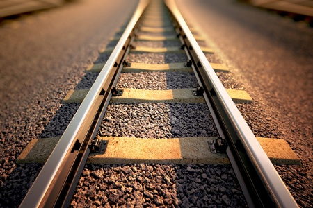 Close up on part of railroad track from top view.