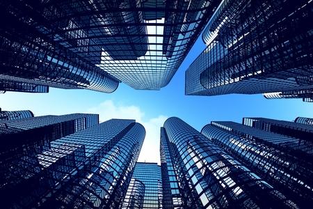 Nízký úhel záběru moderních skleněných městských budov během slunečného dne. Fisheye objektiv efekt.